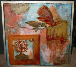 "ELIZABETH VAN RIPER GICLEE ART PRINT ON CANVAS ""STRANGE BIRDS"" FRAMED"