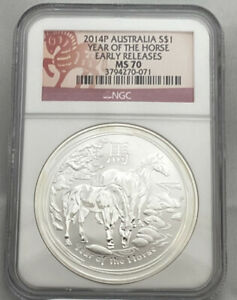 2014-P AUSTRALIA S$1 YEAR OF THE HORSE EARLY RELEASES NGC MS70 071