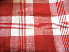 Antique French Red Kelsch Homespun Plaid Loomed Linen Cotton Fabric #1 ~