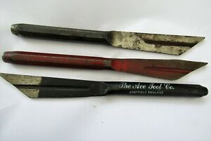 3 x Vintage Ace Tool Co / Whitehouse Masonry / Brick Plugging Chisels / Building