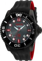 Invicta Men's Watch Pro Diver Charcoal Dial Black and Red Strap Dive 20205