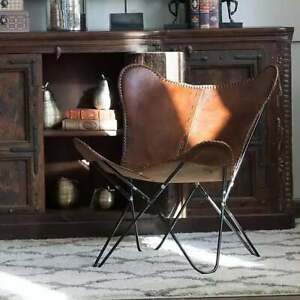 Handmade Vintage Genuine Cowhide Leather Butterfly Chair Relax Arm Chair BKF