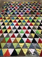 Vintage Patchwork Quilt Top Large Folk Art Handmade 84x64 Quilt Clean Colorful