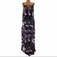Mimi Chica Juniors Maxi Dress Size M Floral Strappy Sleeveless Black NEW  B4
