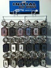 New Nickel Plated Riveted Look Initial Key Chain 216 Pieces on Rack USA Made