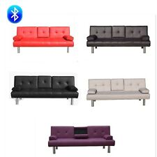 3 Seater Leather Sofa Bed with Bluetooth speaker and cup holder