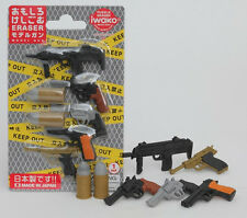 IWAKO 5 Pistol Gun & 2 Bullets Take-Apart Puzzle Rubber Eraser Set Made in Japan