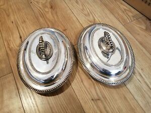Two Antique Silver Plate Entree Dishes With Lids