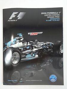 2006 Formula-1 United States Grand Prix Program F-1 Michael Schumacher Ferrari