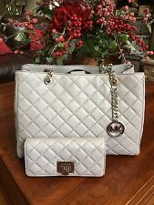 NWT Michael Kors Susannah Quilted Leather Tote & MK Astrid Wallet Pearl Grey