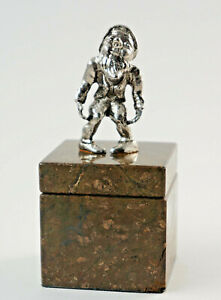 Old Decorative Inkwell, Marble With Zwergenfigur Made of Metal Plated (D9)