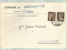 CARTOLINA COMUNE DI GRIANTE  PROVINCIA DI COMO IL PODESTA' SPEDITA NEL 1935