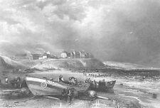 North Tyneside ST. GEORGE'S CULLERCOATS SEA COAST BAY~ 1840 Art Print Engraving