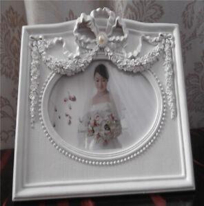 6x4 Wedding Ribbons Flowers Vintage  Style White Freestanding Photo Frame