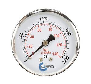 """2-1/2"""" Pressure Gauge - Chrome Plated Steel Case, 1/4""""NPT, Back Mnt. 2000 PSI"""