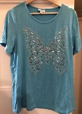 Millers size 14 Ladies silver butterfly embellished blue t-shirt viscose elastan