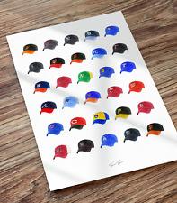 Major League Baseball MLB Team Caps Hats 12x18 Illustrated Print Poster Art