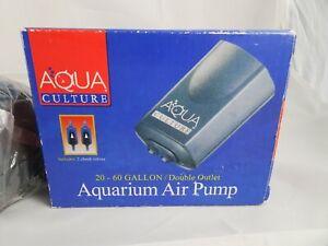 Aqua Culture Air Pump 20-60 Gallon Double Outlet 2 Check Valves