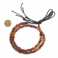 Amber Round Horn Beads 6mm Brown 20 Inch Strand