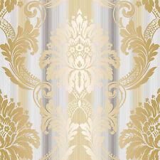 CS35605 - Classic Silks 3 Damask Beige, Gold, Grey Galerie Wallpaper