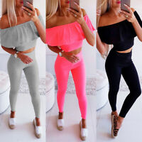 2PCS Women Tracksuit Set Sports Off Shoulder Ruffle Crop Tops Slim Pants Outfits