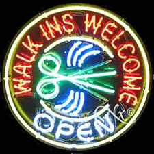 "Brand New ""Walk Ins Welcome Open"" 26x26 Real Neon Sign w/Custom Options 11149"