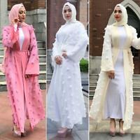 Muslim Women Abaya Kaftan Dubai Islamic Party Evening Cardigan Maxi Long Dress
