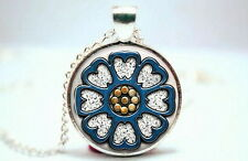 Lotus - Pai Sho - Silver Tone Photo Glass Dome Necklace Pendant Gift