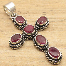 ROYAL Simulated RUBY Gems CROSS Pendant Necklace, 925 Silver Plated !  GEMSET