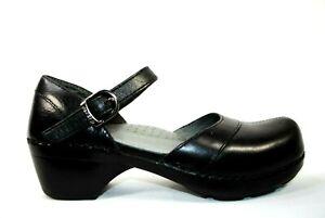 Dansko Black Leather Mary Jane Clog Size 37 | 6.5-7