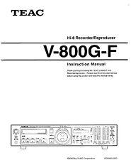 Instruction Operating User MANUAL for TEAC V-800G-F Hi8 Video8 8mm Video 8 VCR