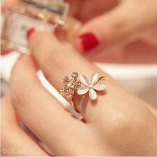 Girl's Adjustable Auger Rhinestone Flower Open Ring Opals Double Daisy