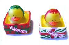"""Awesome Pair of 3"""" Holiday Character Rubber Duck Bath Swim Toys Guc [r2]"""
