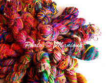 1000 Grams Vintage Recycled Soft Pure Sari Silk Yarn Knit Woven 10 Skein