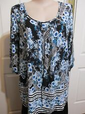 MILLERS LADIES 3/4 SLEEVES LONG BLOUSE FLORAL BLUE TONES SIZE 20