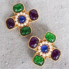 Vintage Ann Taylor Gold Maltese Cross Moghul Gripoix Faux Pearl Clip Earrings
