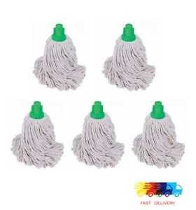 5 X TRADITIONAL Heavy Duty Mop Heads Cotton- GREEN CODED Socket Type Bulk Pack