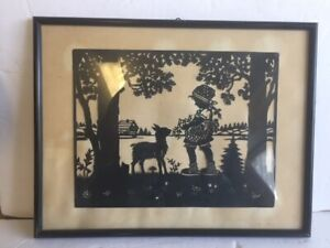 Antique framed silhouette nursery rhyme picture Girl flowers goat