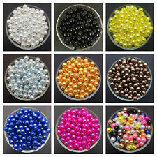 NEW 4mm 6mm 8mm 10mm Acrylic Round Pearl Spacer Loose Beads Jewelry Making C