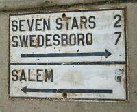 1890s Cast Iron Street Sign New Jersey Garden State Salem Swedesboro Seven Stars