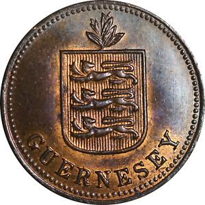 Guernsey 2 Doubles Coin 1929 Heaton Mint EF Underlying Luster