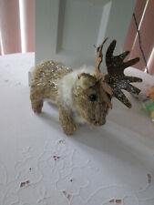 Woodland Small Moose Animal w/ Fake Fur Figurine Winter - Christmas Decor, Net