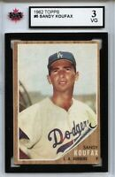 1962 Topps #5 Sandy Koufax Graded 3.0 VG (100519-137)