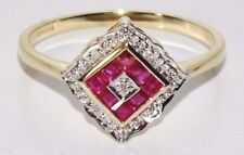 9ct Yellow Gold Ruby & Diamond Art Deco Design Cluster Ring size L