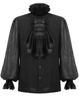 Punk Rave Mens Shirt Top Black Gothic Steampunk Wedding Regency Aristocrat VTG