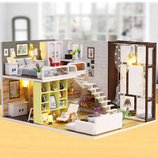 Kids Wooden DIY DollHouse Kit Handcraft Dollhouse Miniature+Furniture LED Light