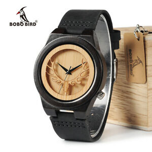 BOBO BIRD Deer Skeleton Black Wood Watches Leather Gifts For Him Mens Wooden Box