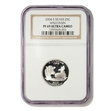 USA Wisconsin State Quarter 2004 S Silver Proof NGC PF 69 Ultra Cameo