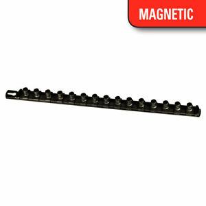 "Ernst 8422M 18"" Long 1/2"" Dr. Magnetic Socket Organizer Rail w/ 15 clips - Black"