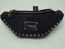 "New Womens BEBE "" Monogram "" Black Faux Leather Fanny Pack Bag Waist Purse $69"